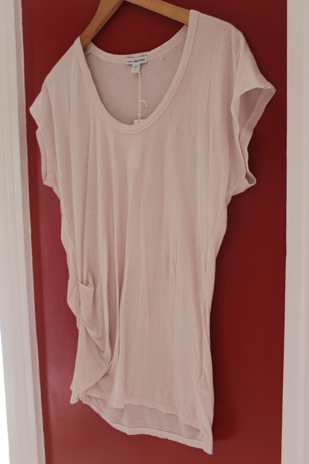 NWT Standard James Perse Designer Lt. Rosa Side Ruched Shirt Knit Top 3 L