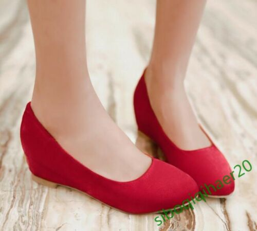 Stylish Women/'s Slip On Faux Suede Wedge Hidden Heel Dress Casual Shoes Size