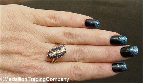 LARGE 14k Yellow gold bluee Sapphire Diamond Cluster Waterfall Caterpillar Ring