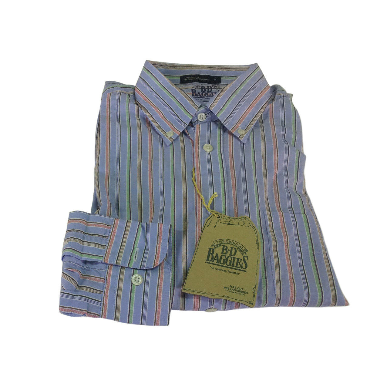 B.D BAGGIES men's shirts striped 100% cotton fit comfortable Size M