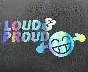 LOUD-PROUD-Chrome-holographic-vinyl-sticker-funny-car-decal-JDM-van-bumper-tvp