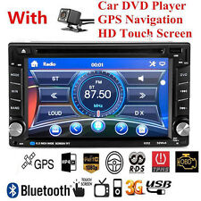 Double 2DIN In Dash GPS Navi Car DVD Player Bluetooth Auto Stereo Radio + Camera