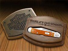 CASE XX Harley-Davidson Persimmon Orange Bone Mini Copperlock Pocket Knife