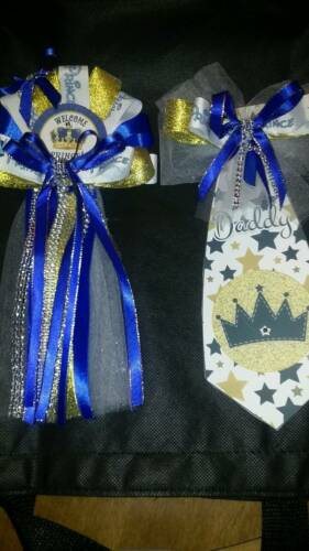 Mommy Baby shower corsage /& Prince Tie for Daddy To Be welcome baby