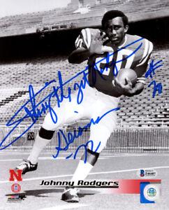 JOHNNY RODGERS SIGNED AUTOGRAPHED 8x10 PHOTO + HEISMAN 72 NEBRASKA BECKETT BAS