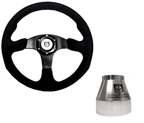 "Pro Armor Formula 13/"" Suede Circle Steering Wheel Kit BLACK Adapter Hub Polished"