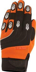 Weise-Dakar-Orange-Black-Leather-Mesh-Lycra-MX-Motocross-Motorcycle-Gloves