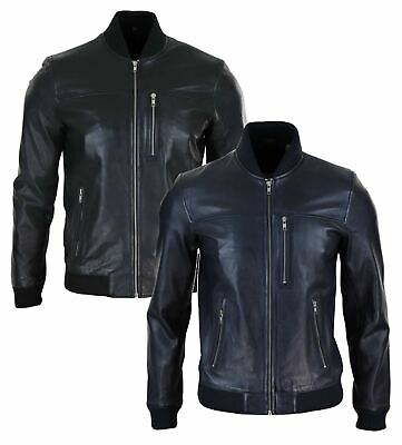 Mens Real Leather Bomber Jacket Casual Zipped Urban Tailored Fit