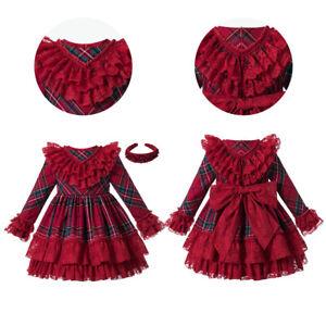 Vintage Kids Girls Xmas Plaid Dress Red Ruffled Lace Dresses Autumn Long Sleeve