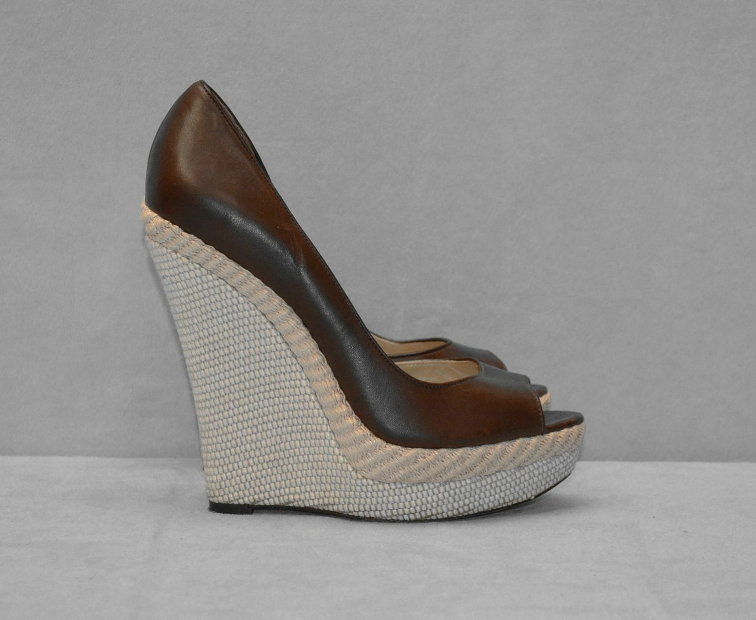 C0 Auth RACHEL Woven ZOE Brown Pelle Open Toe High Woven RACHEL Wedge Shoes Size 8 M 65e250