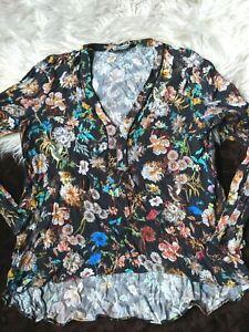 Zara-Woman-Large-Black-Floral-Sheer-Long-Sleeve-V-Neck-Zip-Top-Blouse-L