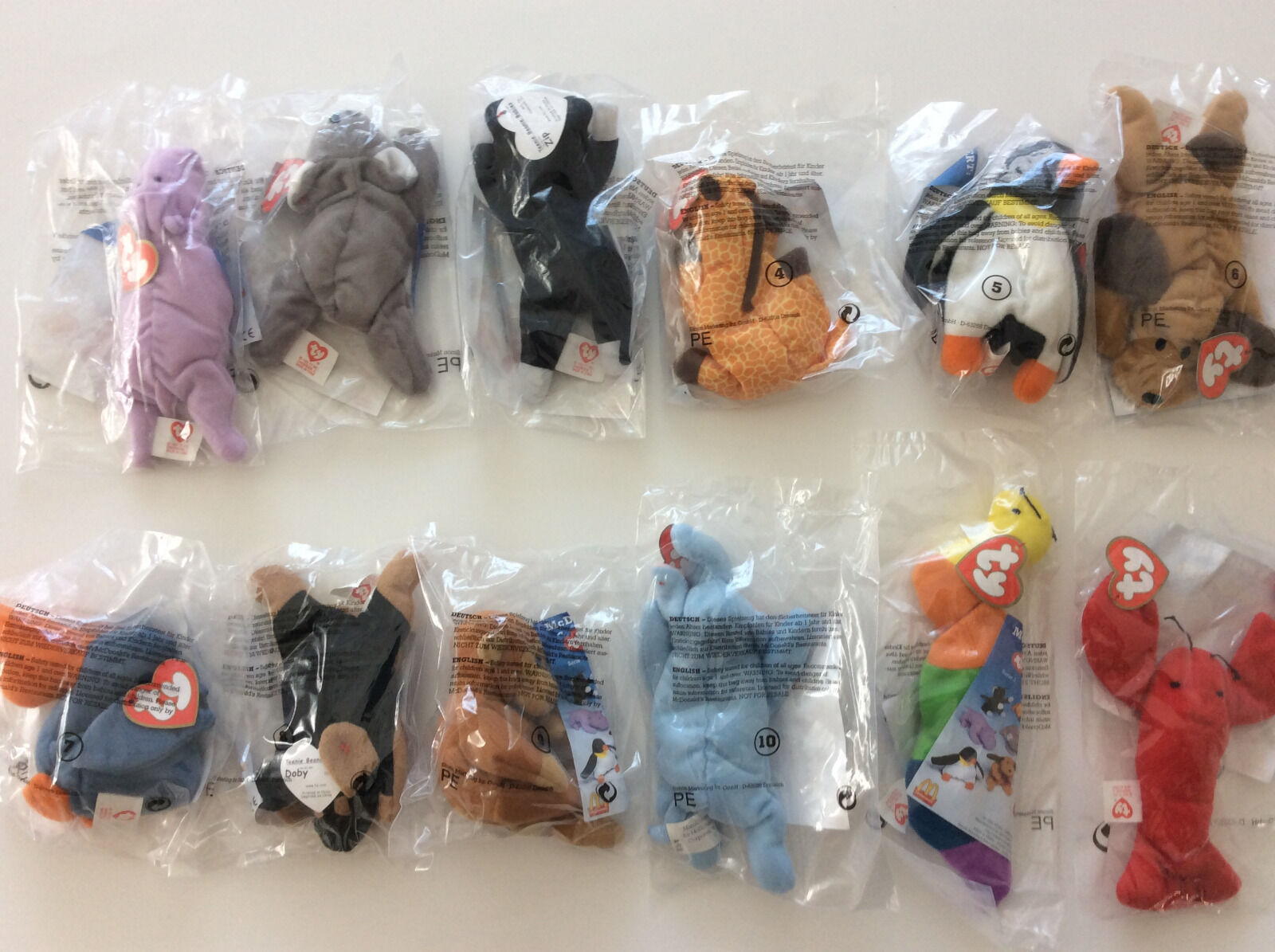 Ty Teenie Beanie Beanie Beanie Babies Set of 12 from 1993 German issued McDonalds Happy Meal 2e4ab4