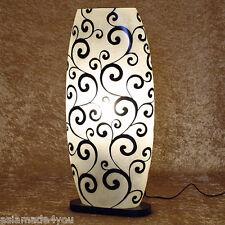 Stehlampe / Leuchte Legian Fiberglas, Holz *modern* weiss schwarz 70 cm