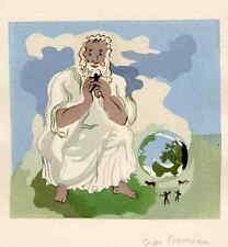 PLATONs TRAUM - Jean BRUNEAU - 1947 - Handsignierte Tuschezeichnung zu VOLTAIRE
