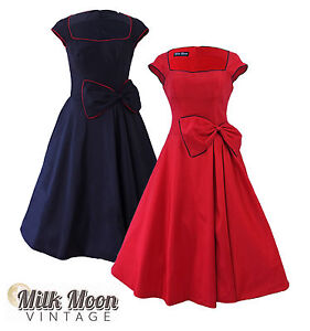 Vintage-1950s-1960s-Black-Red-Swing-Rockabilly-Prom-Evening-Party-Dress-Grace