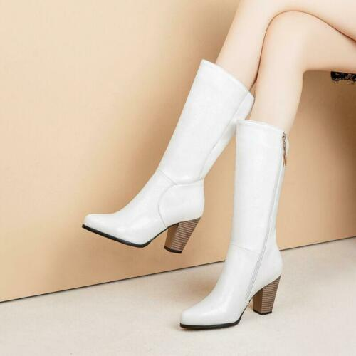 Plus Size 4.5-13 Womens Leather Mid Calf Boots Block Heels Thicken Boots Classic