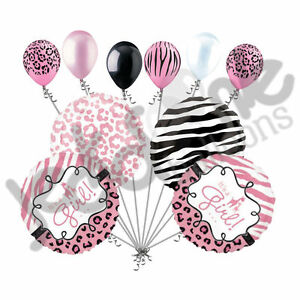 10 pc baby girl sweet safari balloon bouquet baby shower welcome