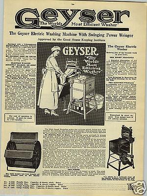 1923 Paper Ad Geyser Electric Washing Machine Power