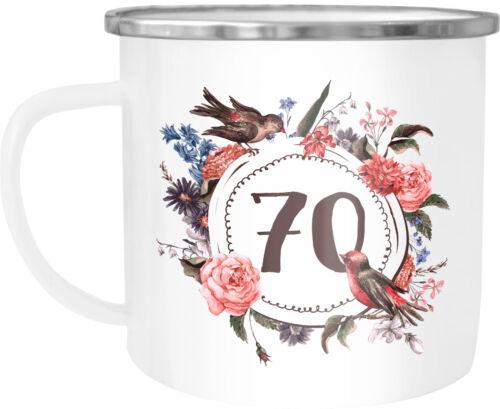 EMAUX Tasse Gobelet Tasse à café avec numéro de l/'année Fleurs Bordure moonworks ®