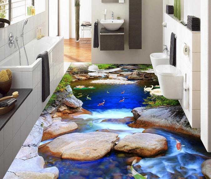 3D Stone Streams Fish 71 Floor WallPaper Murals Wall Print Decal AJ WALLPAPER US