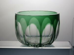 LOVELY-GREEN-AND-CLEAR-CRYSTAL-CUT-GLASS-BOWL