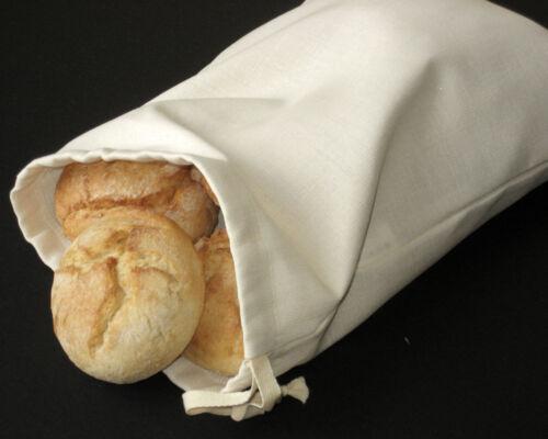 "Reusable 9.8/"" x 13.8/"" Bread Storage Bag Handmade Natural Linen Ivory Bread Bag"