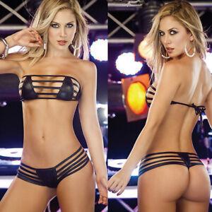 Sexy-Lingerie-Womens-Backless-Bikini-Bandage-G-String-Faux-Leather-Sleepwear