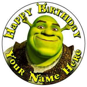 Shrek Face Fun Party 7 5 Personalised Round Edible Icing Cake Topper Ebay