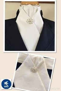 HHD-White-Cotton-Damask-Pretied-Show-Stock-Tie-Dressage-Stock-Pin-included