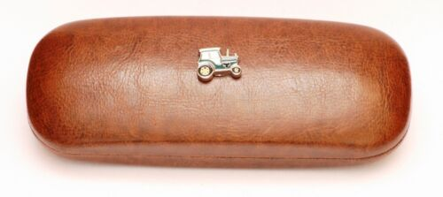 Enamel Green Tractor Leather Effect PU Glasses  Case Farming Gift Present