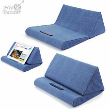 Pillow Stand for iPad book Soft Holder Tablet Log Lap Desk Pyramid Cushion Blue