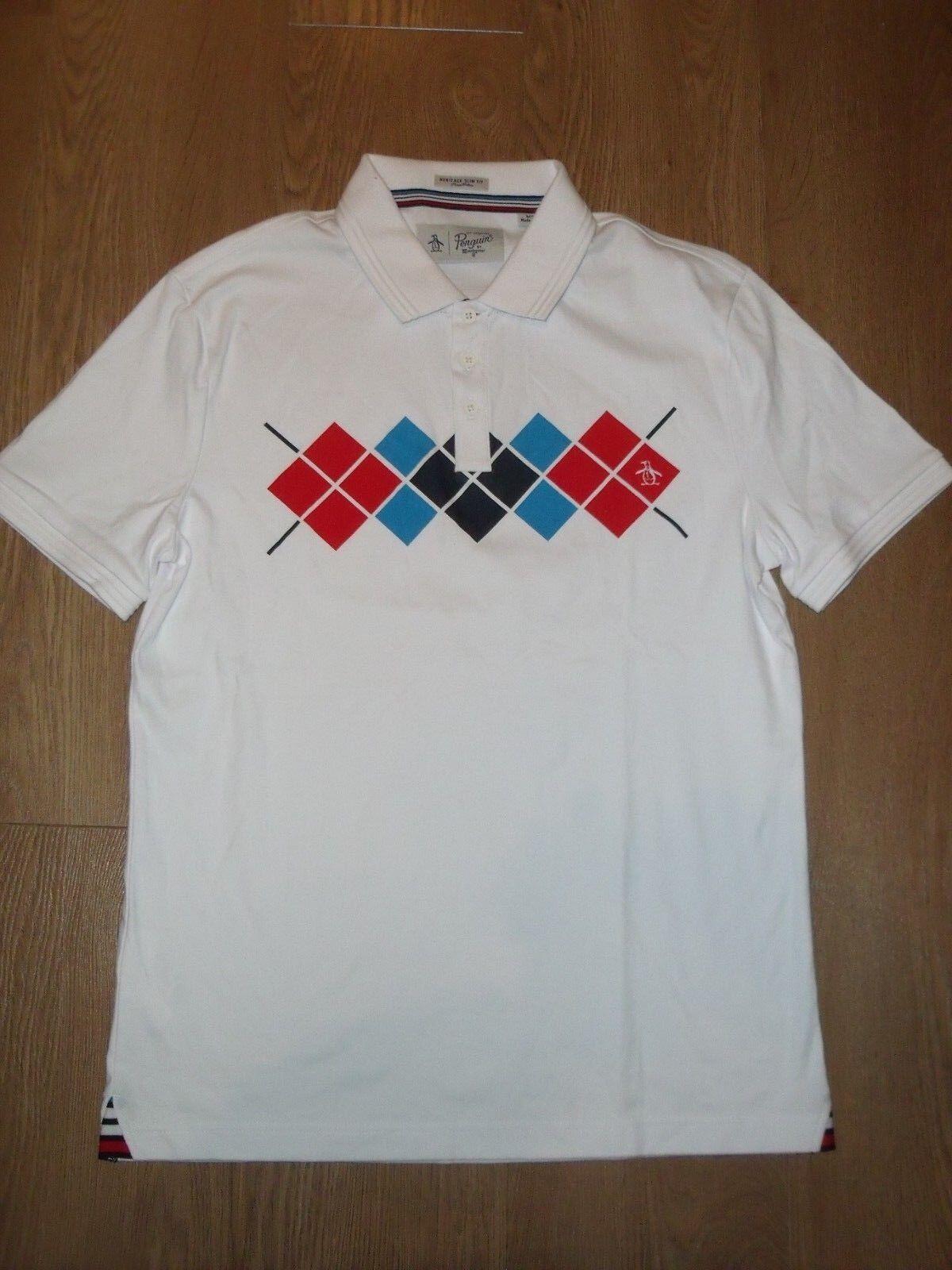 Original Penguin Pima Baumwolle Weiß Quadratisches Muster   Polo HEMD M Schmal  | Clearance Sale  | Moderne Technologie  | Genialität