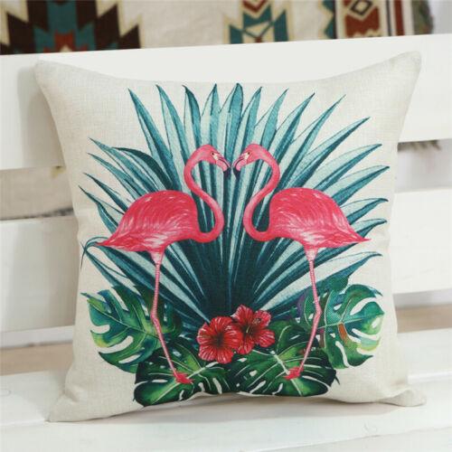 "18/"" Flamingo Flower Plant Printed Sofa Seat Cushion Cover Linen Throw Pillowcase"
