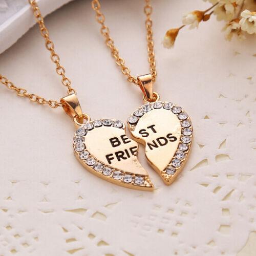 Best Friend Gift Love Heart Cubic Zirconia Gold Silver 2 Pendants Necklace
