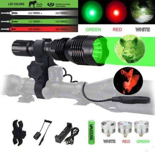 400 Yards Green Red LED Beam Hog Predator Hunting Light Flashlight Rifle Mount A