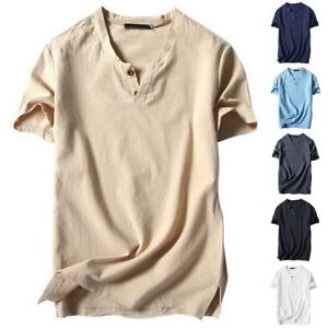 Men-Casual-V-neck-Cotton-Linen-Basic-Blouse-Tops-Tee-T-shirt-Summer-Henley