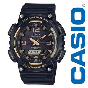 13ae863d3222 Casio AQS810W-1A3 Men s Black Solar Analog Digital World Time Sports ...