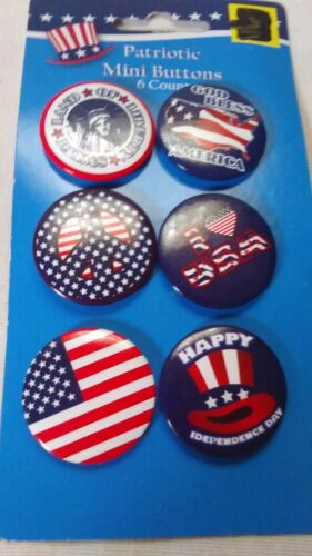 Buttons Pins Red White Blue USA Patriotic 6 Pack 4th of July Independence Day