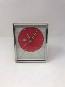 Vintage-Retro-Red-Bulova-Table-Clock-51103-Japan-Alarm-Clock-Working