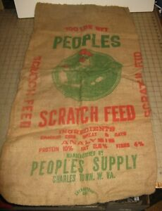 Vintage-Empty-PEOPLE-039-S-100lb-Chicken-Scratch-FEED-Burlap-Bag-in-VG-Condition-WV