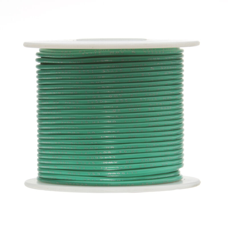 24 AWG Gauge Solid Hook Up Wire Green 500 ft 0.0201  UL1007 300 Volts