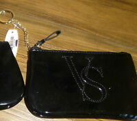 Victoria's Secret Coin Purse With Key Chain Black Shiny