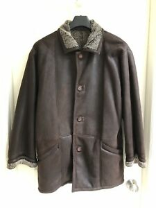 Genuine-Shearling-Leather-Jacket-Coat-Brown-Snowtop-Harry-Rosen-Size-42-Large