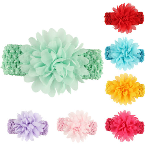 KQ/_ BH/_ KE/_ Baby Girls Kids Chiffon Flower Elastic Headband Hair Accessory Headw