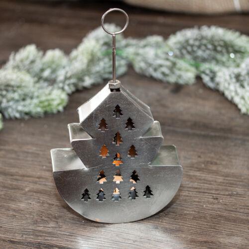 Windlicht Vintagelook silberfarbend Metall Teelichthalter als Weihnachtsbaum