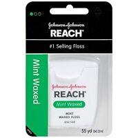 3 Pack Johnson & Johnson Reach Dental Floss Mint Waxed Floss 55 Yards Each