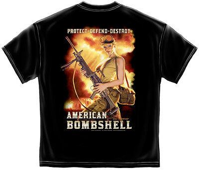 GREG HILDEBRANDT T Shirt Guns Rifle Pin Up Girl BOMBSHELL USA S M L XL XXL XXXL