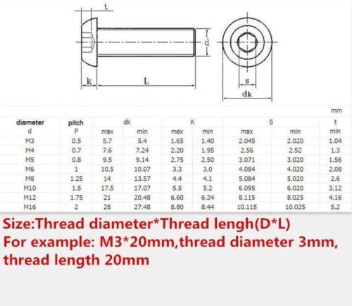 M6 M8 M10 304 Stainless Steel Hex Socket Button Head Screw Bolt 5//10//20//50 pcs