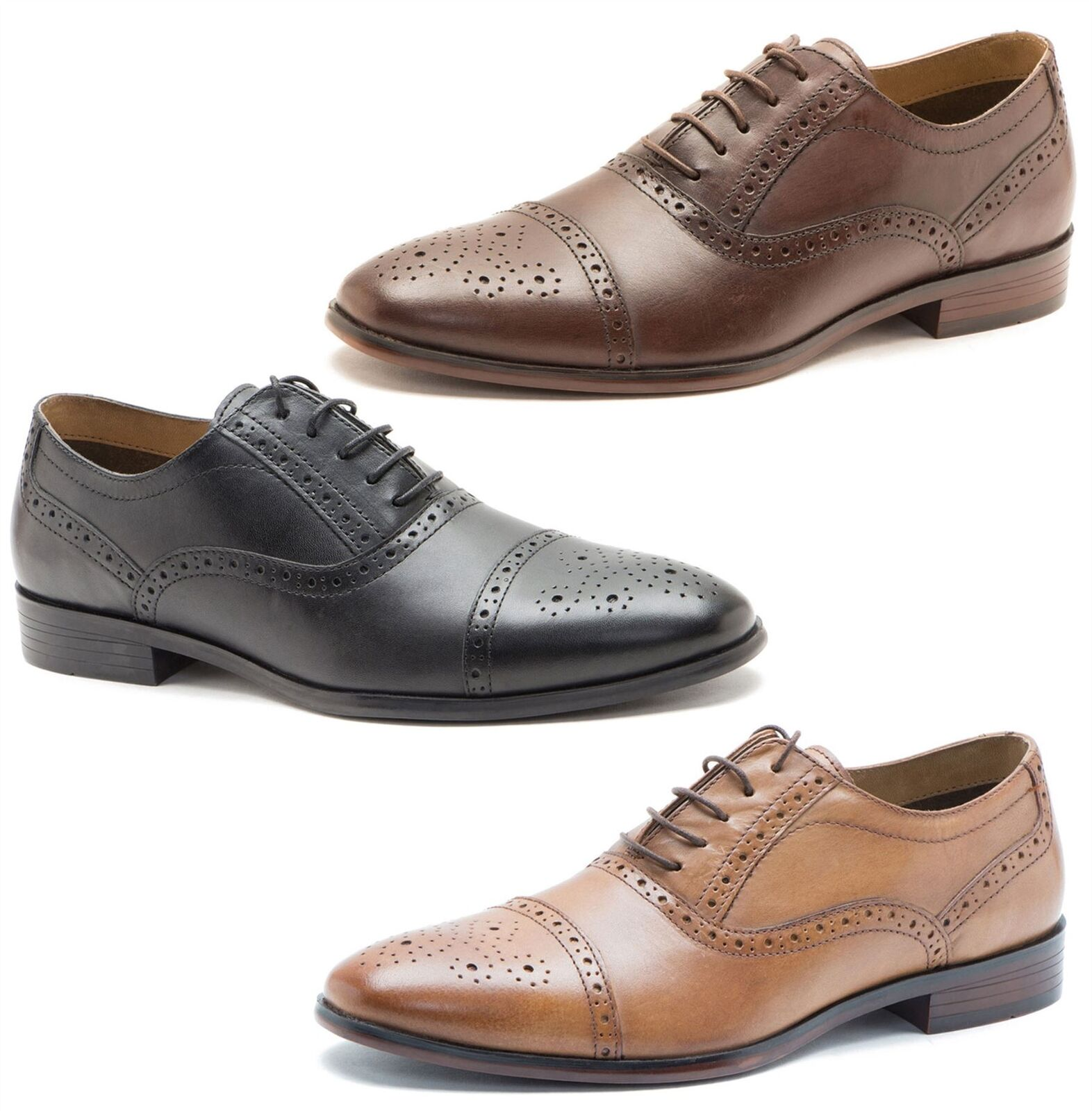 Red Tape Hartwell Mens Lace Up Brogue 5 eye Leather shoes Tan Brown Black