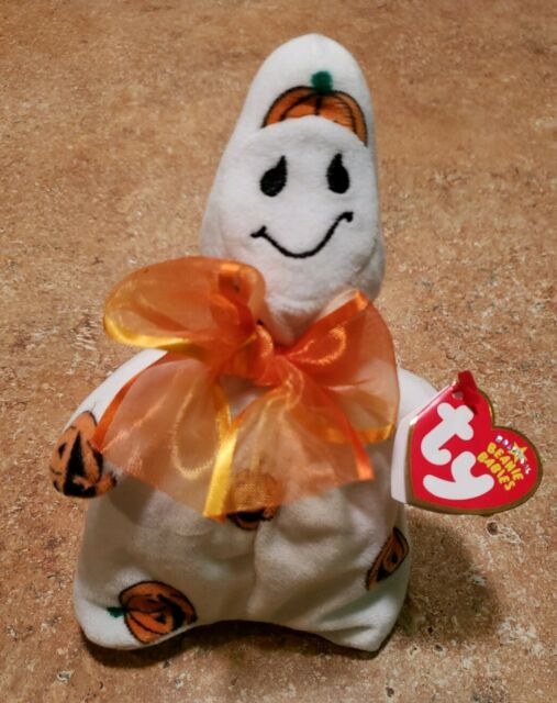 TY Ghoulish the Halloween Ghost Beanie Baby w/ Tags, Great Condition!